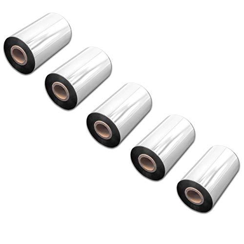 vhbw 5X wischfest Thermotransfer-Band schwarz 100mm 300m für Drucker Etikettendrucker Zebra 105SE, 105SL, 110 Xi, 140 Xi, 170 Xi, 220 Xi, Pax Series