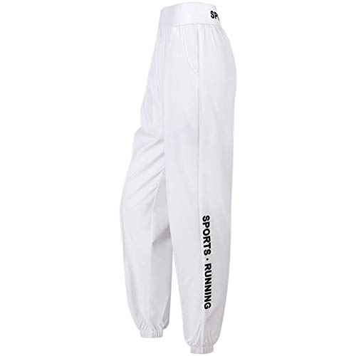 WanXingY Sport lose Hosen Damenmode Letter Print Bouquet Feet Running Training im Freien Breathable Gym Pants Sommer-dünne Yoga Pants (Farbe : White, Size : XL)