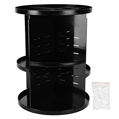 Caja de almacenamiento de cosméticos, estante de almacenamiento de maquillaje de rotación de 360 grados, organizador de cosméticos de escritorio de acrílico para el hogar(Negro)