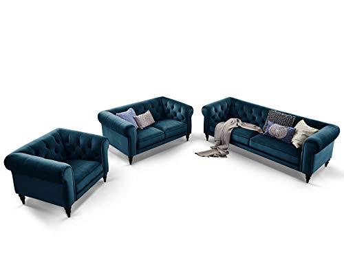 Moebella Chesterfield Sofas Samt 3-2-1-Sitzer Sitzgarnitur Couch Hudson Massivholz Füße schwarz mit Knopfheftung (Türkis)