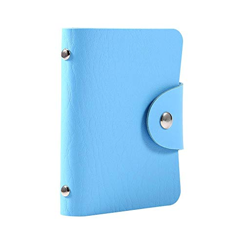 1 stuk pu-leer creditcard portefeuille visitekaartje bescherming organisator houder met 24 slots voor vrouwen en mannen blauw
