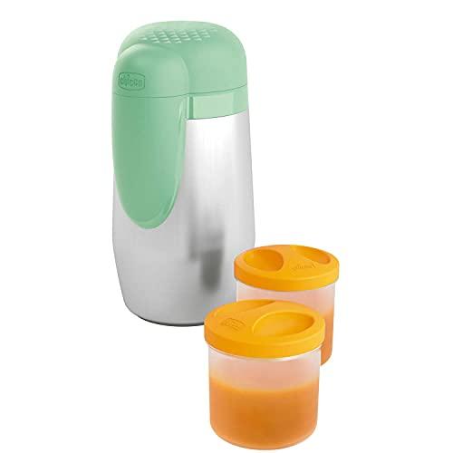 Chicco Portapappa e Portabiberon Termico in Acciaio Inox con 2 Contenitori, Contenitore Termico per Alimenti e Bevande, Mantiene la Temperatura Fino a 5 Ore, Contenitore Termico senza BPA, 0+ Mesi