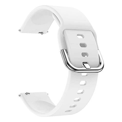 EWENYS Cinturino sportivo in silicone morbido per smartwatch, Compatibile con Samsung Galaxy Watch Active 2 40mm 44mm / Garmin vivoactive 3 / Amazfit GTS GTR 42mm (20mm, Bianca)