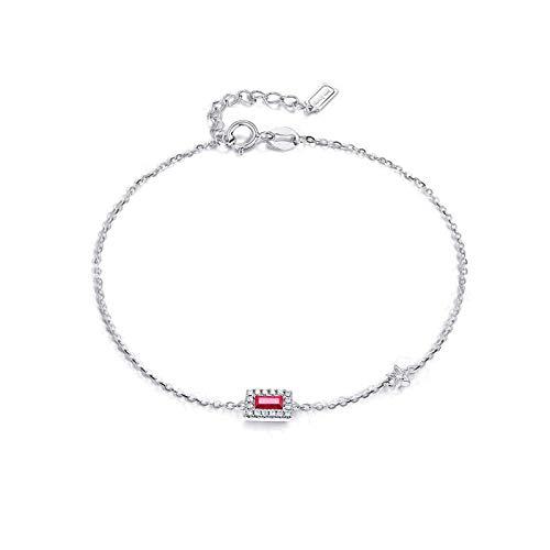 Bishilin Oro Blanco de 9 Quilates Clásico Pulseras de Encanto Rojo Rubí Diamante Pulseras de Mujer Ajuste Cómodo Rund Joyas con Estilo Regalos para Navidad Aniversario Oro Blanco