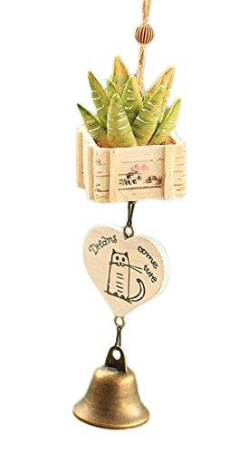 Drawihi Kreatives Harz saftige pflanzen Wind Glocken Handwerk Geschenk Anhänger Auto Dekoration Dekorative Requisiten (Aloe Vera)