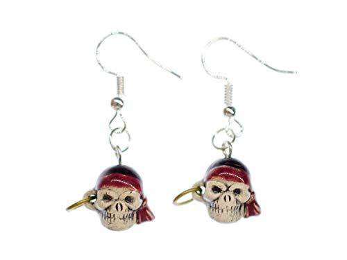 Pendientes de calavera con ganchos para los oídos Miniblings de Halloween pirata humana aterrador
