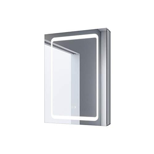 SONNI Spiegelschrank beschlagfrei mit Touch und Steckdose Spiegelschrank Bad 50 × 70cm LED Spiegelschrank mit Beleuchtung Kabelloses Scharnier Design Spiegelschrank für das Badezimmer Aluminium
