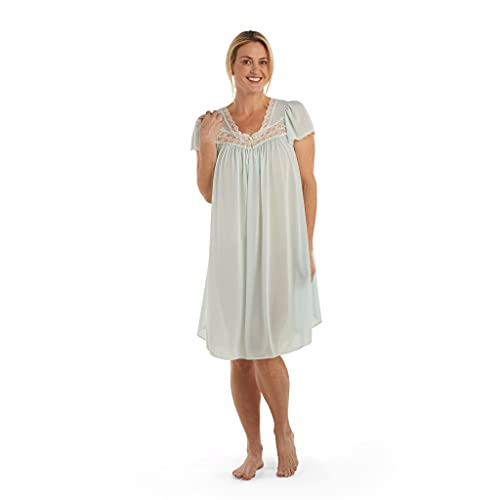 Miss Elaine Silk Essence Nightgown - Short Silky & Sheer Tricot Gown with Flutter Sleeves Aqua