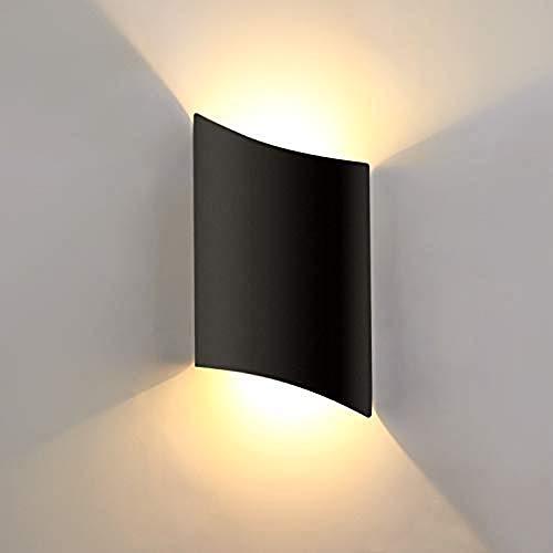 Lightess 16W Apliques de Pared Exterior Lámpara de Pared LED Luz Moderna Impermeable IP66 Iluminación para Sala de Estar, Pasillo, Escaleras, Puerta (negro, 16w, blanco cálido)