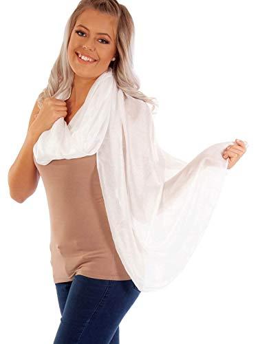 DOLCE ABBRACCIO by RiemTEX ® Schal Damen PRIMA DONNA Stola Tuch aus Wildseide im samtenen Weiss Tücher in 31 Unifarben Halstücher Seidentuch Schals Damen Halstuch Seidenschal (Weiß)