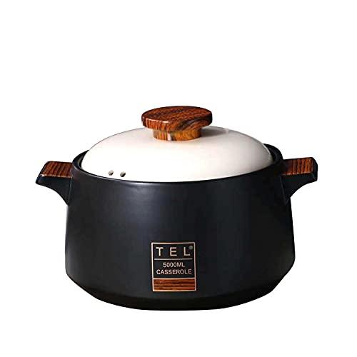 SOOMILE - Casseruola rotonda da 5 l, in ceramica con coperchio, teglia da forno per cene, banchetti e feste (5 l, nero)