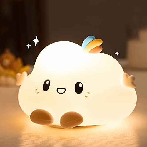 Cute Cloud Night Light for Kids,Kids Night Light with Tap Control,Squishy Silicone Baby Nursery...