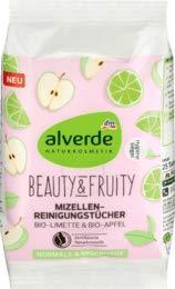 alverde NATURKOSMETIK Beauty & Fruity Mizellen-Reinigungstücher Bio-Limette Bio-Apfel, 1 x 25 St