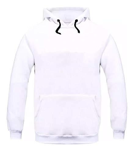 Moletom Masculino Canguru Super Macio Blusa Cor:Branco;Tamanho:GG