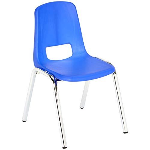 Amazon Basics 12 Inch School Stackable Chair - Chrome Legs, Blue, 6-Pack