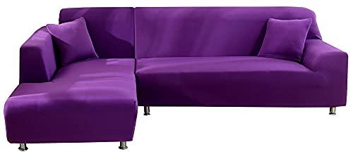 HXTSWGS Funda elástica para sofá, Funda para sofá en Forma de L, Funda Protectora Suave para Muebles con Fondo elástico y Espuma Antideslizante para niños, Perros, Gatos-Purple_145-185cm
