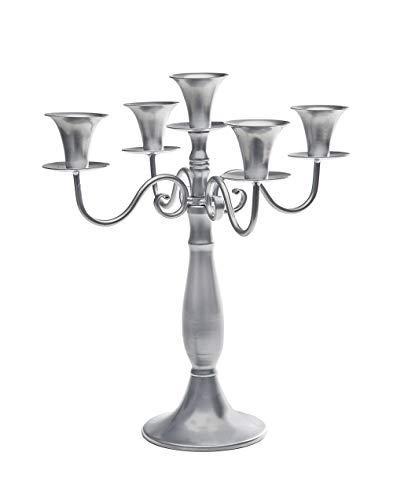 "Studio Silversmiths 14"" 5-light Silver Metal Candelabra Wedding Centerpiece Candle Holder"