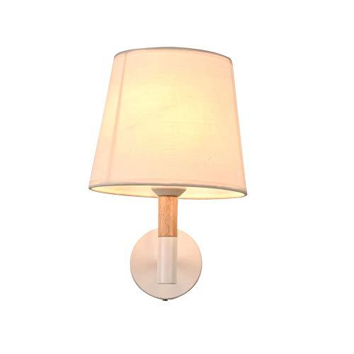 LDDEND Lampe de mur en tissu moderne moderne créative salon chambre à coucher tissu abat-jour design matériau ignifuge led lampe murale Villa hôtel chambre allée couloir lampe (Color : Linen)