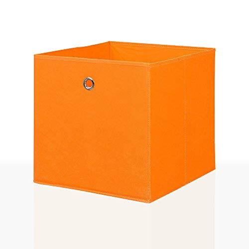 Mixibaby Faltbox Faltkiste Regalkorb Regalkiste Regalbox Aufbewahrungsbox 4 er Set, Farbe:Orange, Größe:26 cm x 26 cm