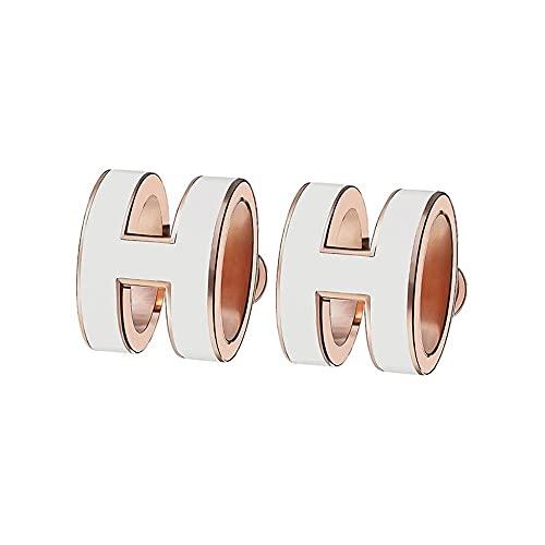 sterling silver earrings S925sterling silver earrings rose goldHletter earrings White rose gold Yhgjhuie