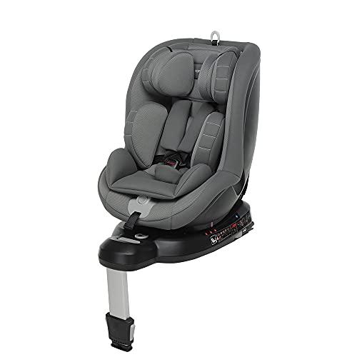 Foppapedretti Logik i-Size Seggiolino Auto Girevole 360° Isofix per Bambini con Altezza da 40 a 105 cm (Fino a 18 Kg), Grey