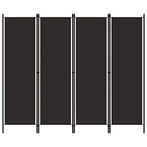 vidaXL Raumteiler Klappbar Freistehend Trennwand Paravent Umkleide Sichtschutz Spanische Wand Raumtrenner 4-TLG. Braun 200x180cm Eisen Stoff