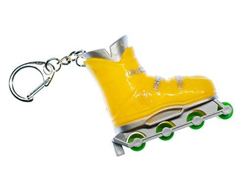 Miniblings Rollschuh Schlüsselanhänger Retro Inliner Sport Inlineskates Rollerskates Gelb - Handmade Modeschmuck I I Anhänger Schlüsselring Schlüsselband Keyring