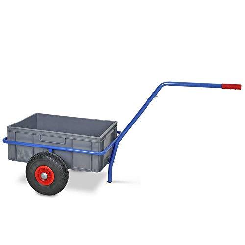 Handwagen mit herausnehmbarem Kunststoffkasten 600x400x220 mm, pannensichere Reifen,Tragkraft 200 kg