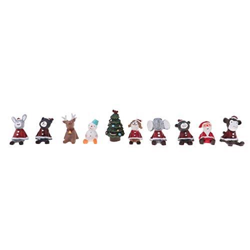 perfeclan 10 Stücke Miniatur Weihnachtsschmuck Weihnachtsbaum Weihnachtsmann Tier Modell für 1/12 Puppenstuben Weihnachtsdekoration