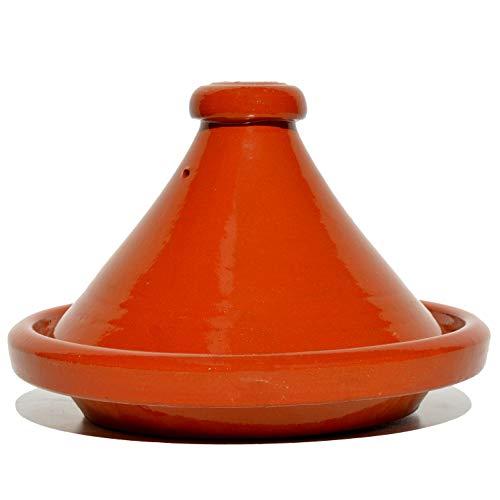 Marokkanische Tajine, Rund, Ø 30 cm, Tontopf, Gartopf, Schmortopf zum Kochen, glasiert, für 4-5 Personen, handgetöpfert aus Marokko, schadstofffreie Lehmerde