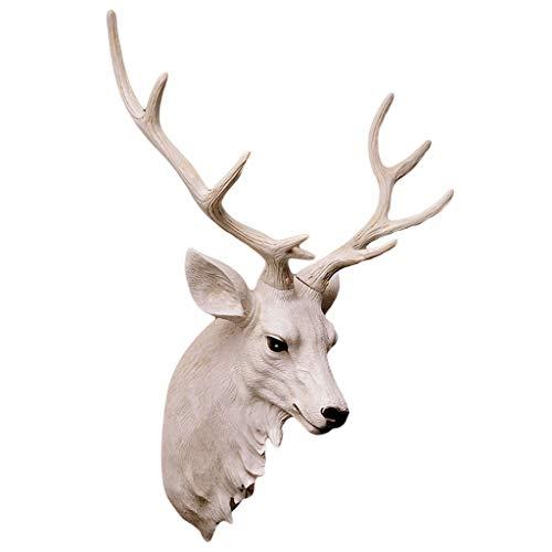 LIUBINGER Escultura Cabeza de Ciervo Colgante de Pared Animal Sala de Estar estéreo Blanco Escultura de Resina de Gran tamaño 58 * 43 cm Manualidades