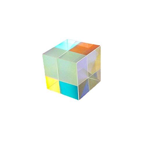 FORYOURS Würfel Prisma Brille, Optisches Glas Würfel Prisma, 6 Seiten Mehrfarbiger Würfel, Fotografie Prisma Optisches Glas X-Würfel, Optisches Experiment Instrument Optische Linse, 12,7X12,7X12,7 Mm
