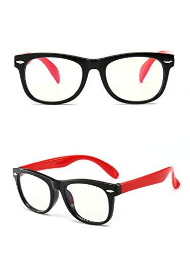 Weiqiao - Gafas antiluz para niños, marco rectangular, antifatiga, protección UV contra ordenador y tableta, para niños y niñas (negro y rojo)