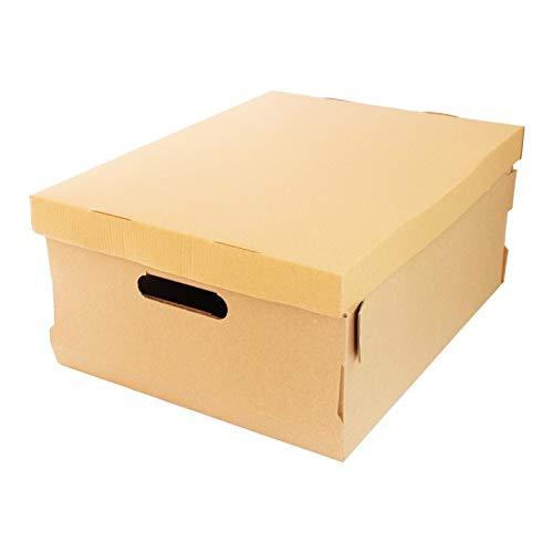 TIENDA EURASIA Cajas de cartón de almacenamiento automontable con tapa multiusos. Almacenamiento para oficina, casa y mudanzas. 10 Unidades. (45x35x20)