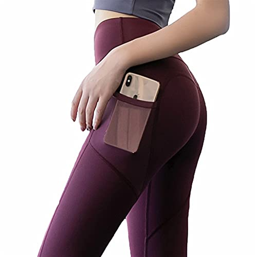 YUDIZWS Yoga Leggings Push Up De Cintura Alta Pantalones Deporte con Bolsillos para Fitness Running Elásticos Y Transpirables Sin Costuras Corte (Color : D, Size : X-Large)