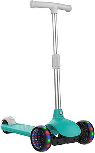 Color de Caramelo diseñado Suizo Micro Kick Scooters para niños pequeños Scooter-Lujo Aluminio Deporte triciclos para Edades 3-8 con Ruedas Luminosas Lean-to-Steer (Color : Blue)
