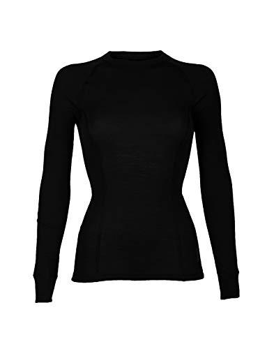 Dilling Merino Langarmshirt für Damen aus 100% Bio-Merinowolle Schwarz 40