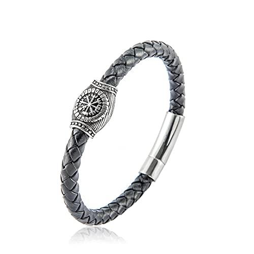 XIABME Pulsera de runas con brújula vikinga para Hombre, símbolo de Valknut Doble, joyería nórdica de Acero Inoxidable rúnico, Brazalete Trenzado con cordón de Cuero de Estilo gótico