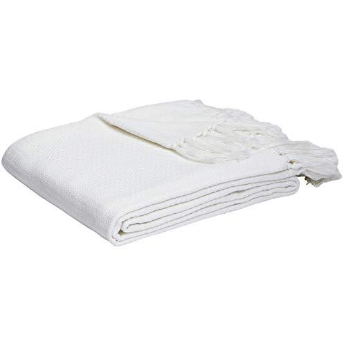 Amazon Basics - Manta tejida de algodón - Blanco, 150 x 200 cm