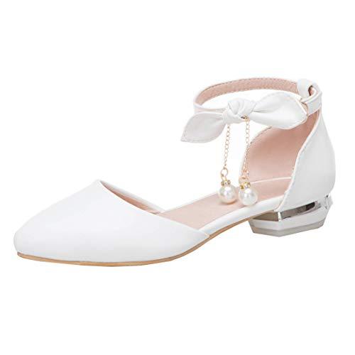 MISSUIT Damen Riemchen Pumps Spitz Flach Ankle Strap Ballerinas Schleife Schuhe(Weiß,39)