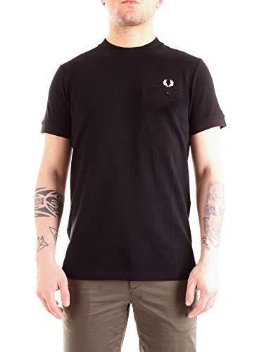 Fred Perry Herren Pocket Detail Pique T-Shirt, Schwarz (Black 102), Large (Herstellergröße: L)