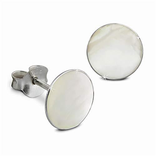 SilberDream Pendientes/de concha marina carcasa 0,8cm pendientes Stud Pendientes Plata de Ley 925diámetro blanco SDO8500W