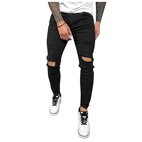 Jeans Pantaloni da UomoPantaloni Casual Shorts in Denim Strappati Pantaloni Elegante Slim Fit con Tasche Laterali Pantaloni da Casa per Vacanze di Piacere E Vita Quotidiana