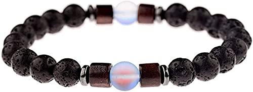 DJDEFK Pulsera de Feng Shui 7 Chakra 8mm Perlas de Cristal Natural de la Lava Piedra elástica Nacido Brazalete Amante joyería Reza Yoga energía Reiki Encanto joyería Regalo para Pareja Feng Shui