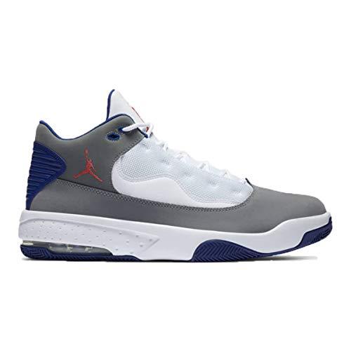 Nike Jordan MAX Aura 2, Zapatillas de bsquetbol Hombre, Smoke Grey Track Red White Deep Royal Blue, 40 EU