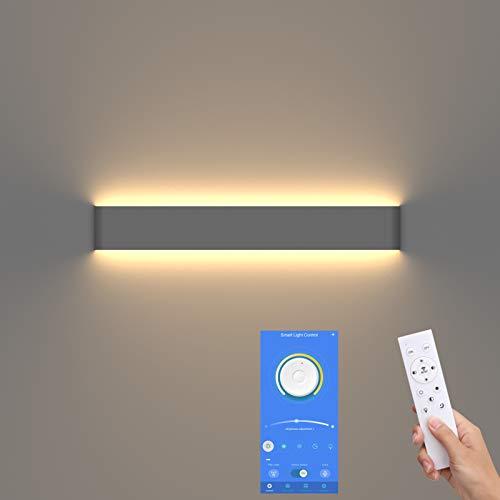 Klighten LED Wandleuchte Up and Down Innen,Badezimmer wandleuchte,61cm,Helligkeit und Farbe dimmbar, 3000K-6000K,20W,Dunkelgrau