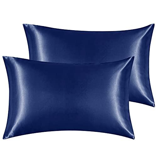 Hansleep Funda Almohada 50x70cm de Satén Armada, Sedoso estándar para 2 Piezas, con Cierre de sobre, Muy Liso Suave de 100% Microfibra Poliéster, Belleza Facial, Cuidado de la Cara, hipoalergénico