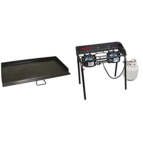 Propane 2 Burner Stove for Camping with Flat Top Grill