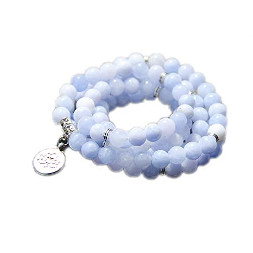 108 Mala Aquamarines with Lotus OM Buddha Charm Yoga Bracelet or Necklace for Me Women Blue Natural Stone Jewelry Light Yellow Gold Color