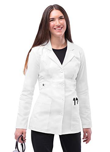 """Adar Camice da Laboratorio Elasticizzato da Donna - 28"""" Regolabile sui Fianchi - 3300 - White - L"""